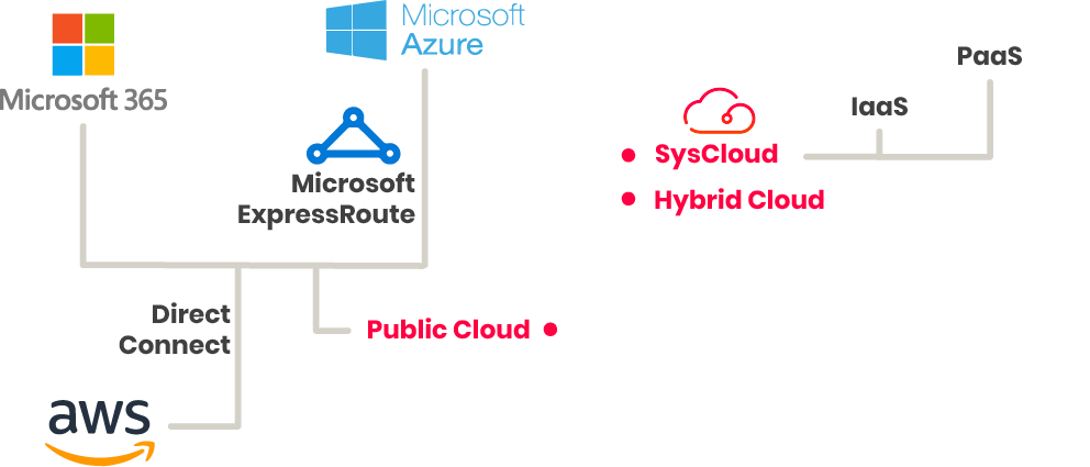 Sysgroup Cloud services illustration. We offer public cloud, hybrid cloud, and syscloud.