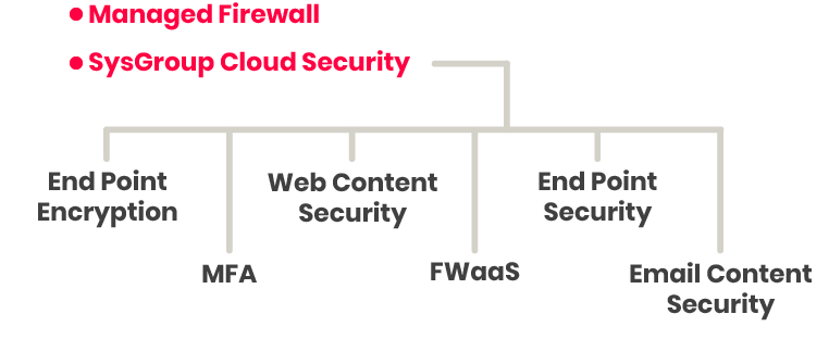 Sysgroup SECaaS IT Security services illustration. We offer Managed Firewall and SysGroup Cloud Security services.