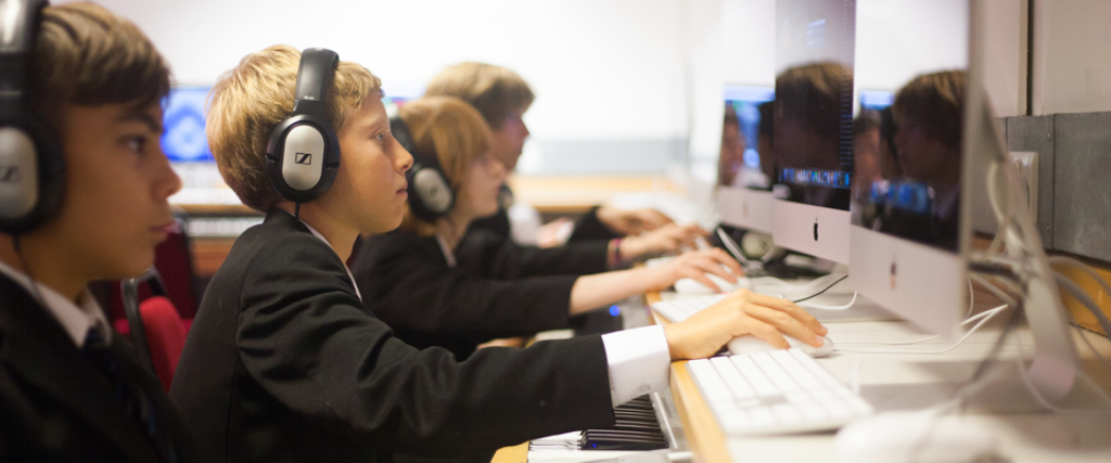School Students using education IT infrastructure