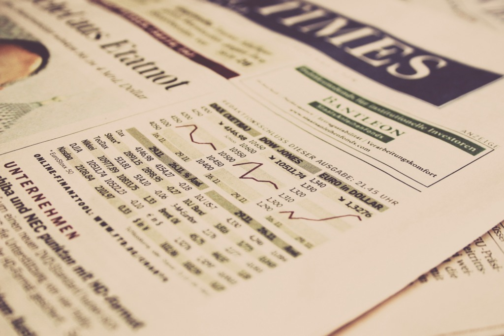 Newspaper open to the finance section