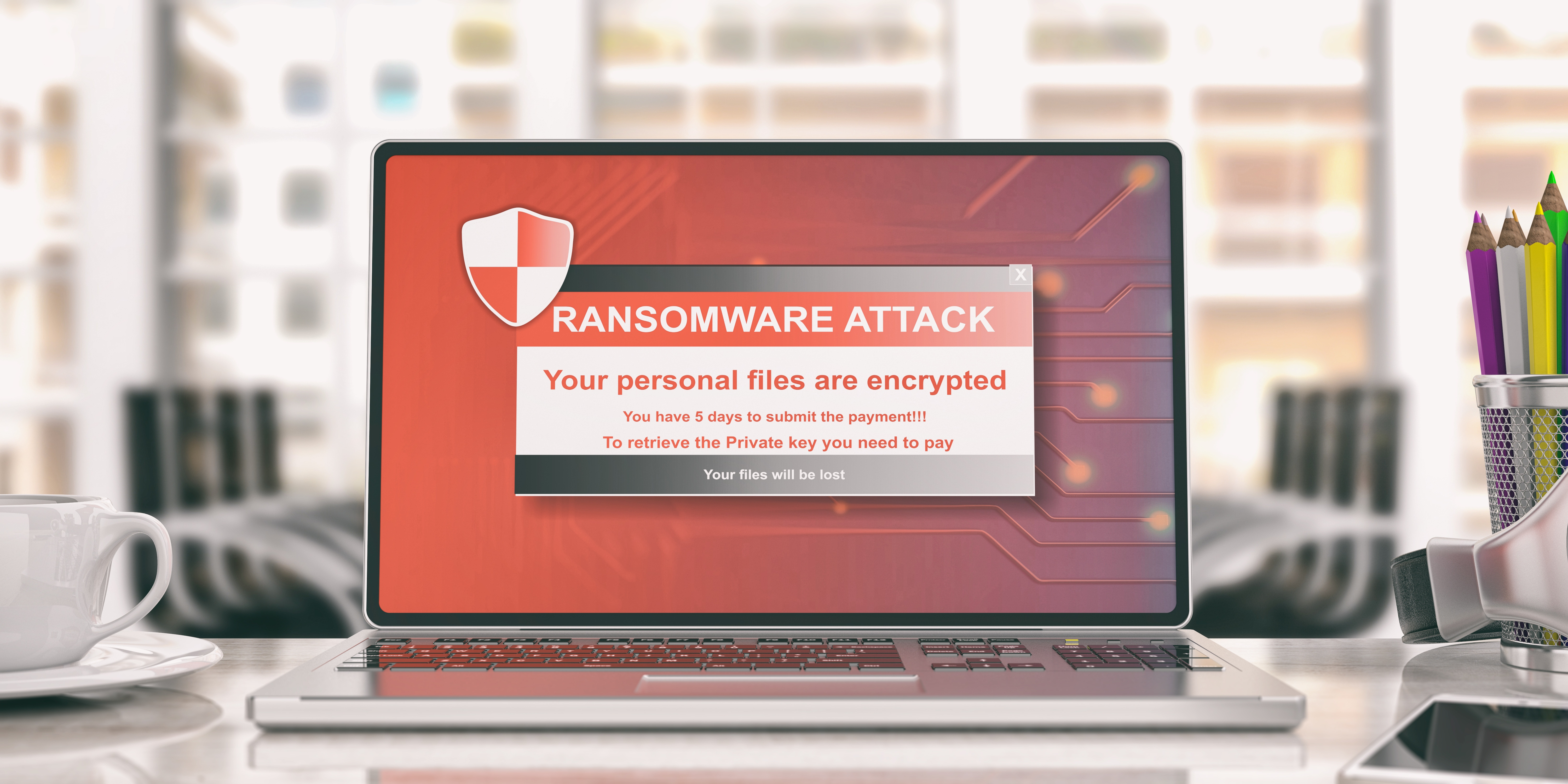 Ransomware open on laptop